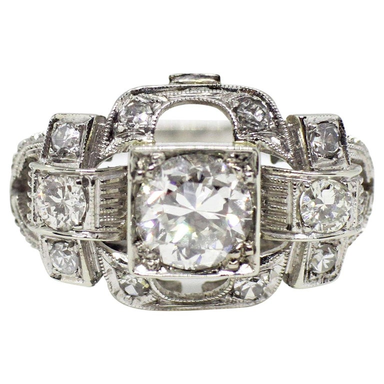 0.80 Carat Old Cut Diamond Art Deco Platinum Engagement Ring, circa 1930s For Sale