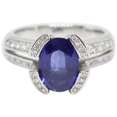 French 2.75 Carat Sapphire and Diamond 18 Carat Gold Engagement Ring