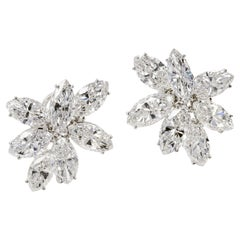 Cluster Design with Marquise Cut 14 Carat Diamond Stud Earrings