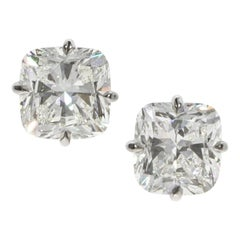 GIA 3.15 and 3.49 Carat Cushion Brilliant Diamond Gold Stud Earrings