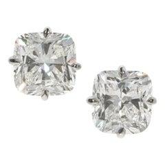 GIA 3.15 and 3.49 Carat Cushion Brilliant Diamond Gold Stud Earrings