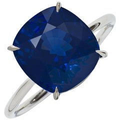 Gübelin 7.11 Carat Sapphire Natural Cushion Burmese Untreated Engagement Ring