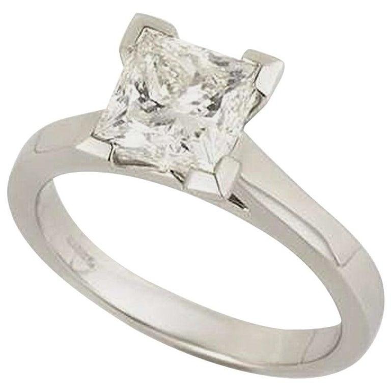 GIA Certified Princess Cut Diamond Engagement Ring 2.01 Carat For Sale