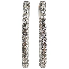 2.76 Carat Diamond Hoop Earrings in 14 Karat White Gold