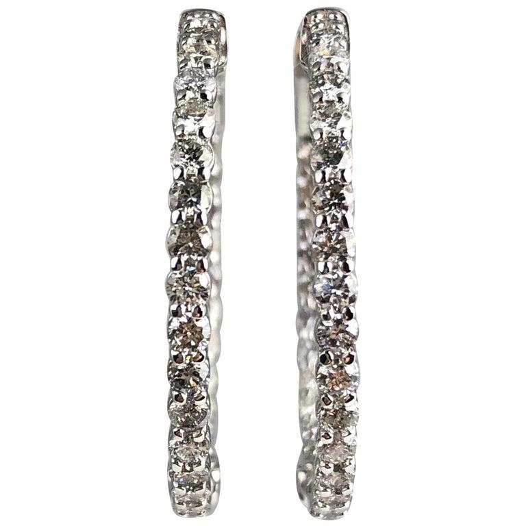 2.76 Carat Diamond Hoop Earrings in 14 Karat White Gold For Sale