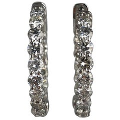 3.89 Carat Diamond Hoop Earrings in 14 Karat White Gold