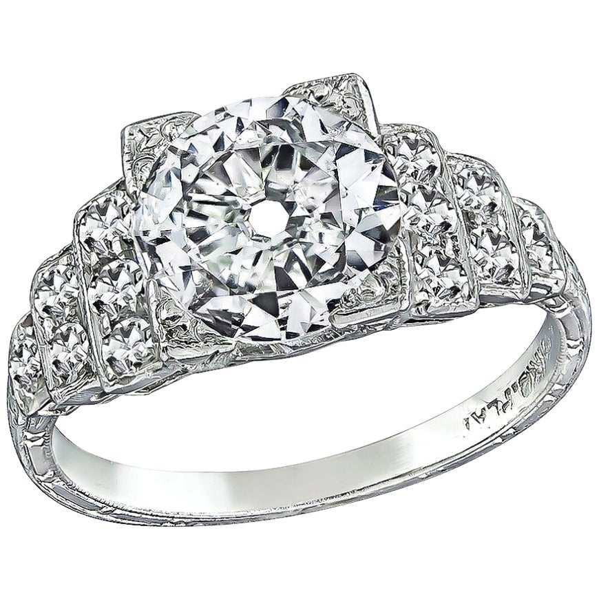 Art Deco GIA Certified 1.20 Carat Diamond Engagement Ring