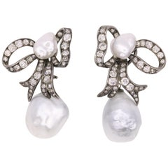 Edwardian Diamond Keshi South Sea Pearl Earrings Platinum