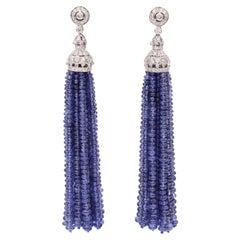 Sapphire Diamond Tassel Earrings 150 Carat 18 Karat White Gold
