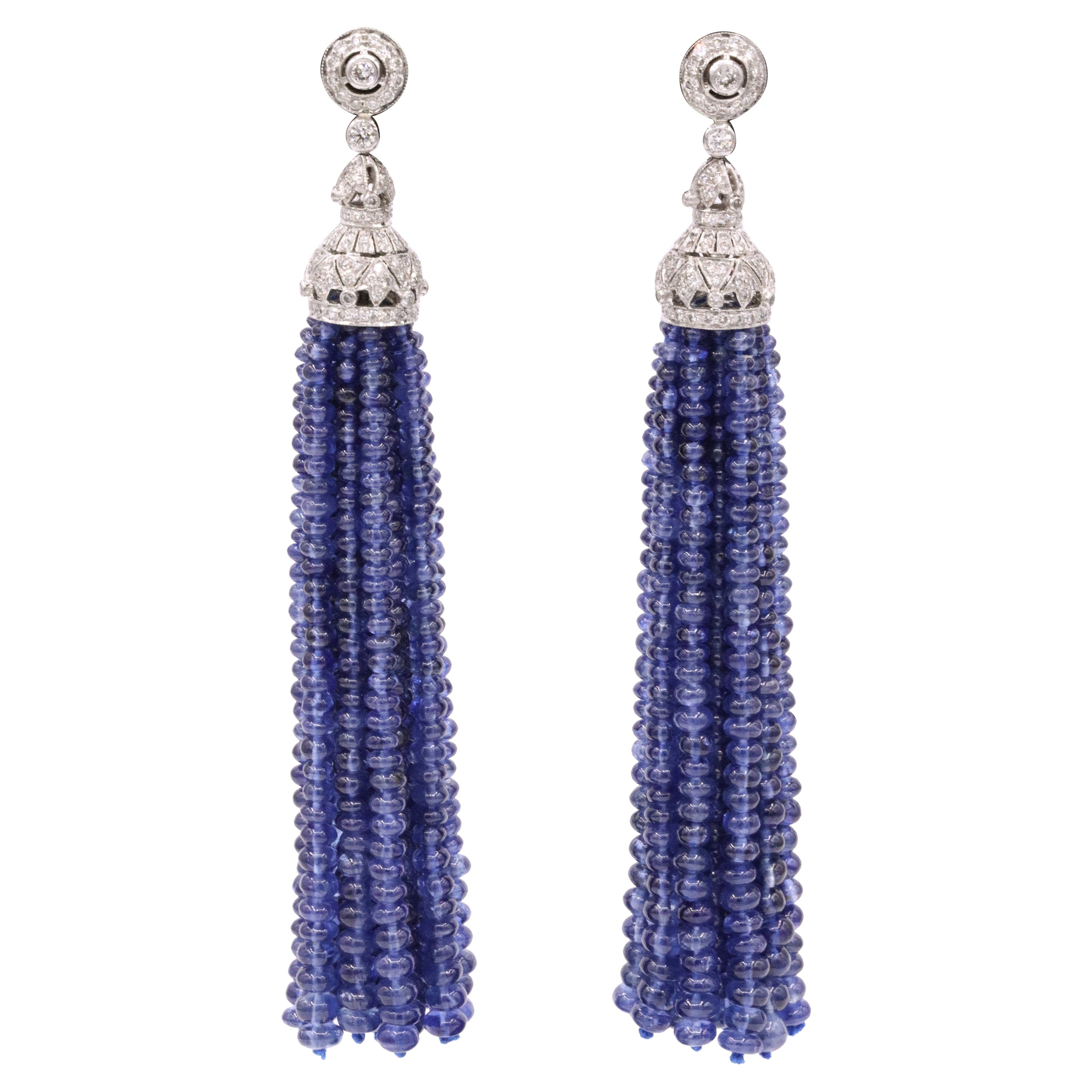 Sapphire Diamond Tassel Earrings 150 Carat 18 Karat White Gold