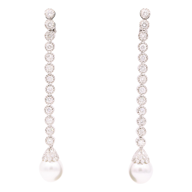 Australian South Sea Pearl Drop Earrings 5 Carat 18 Karat White Gold