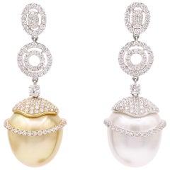 South Sea Diamond Drop Earrings 2.78 Carat 18 Karat White Gold