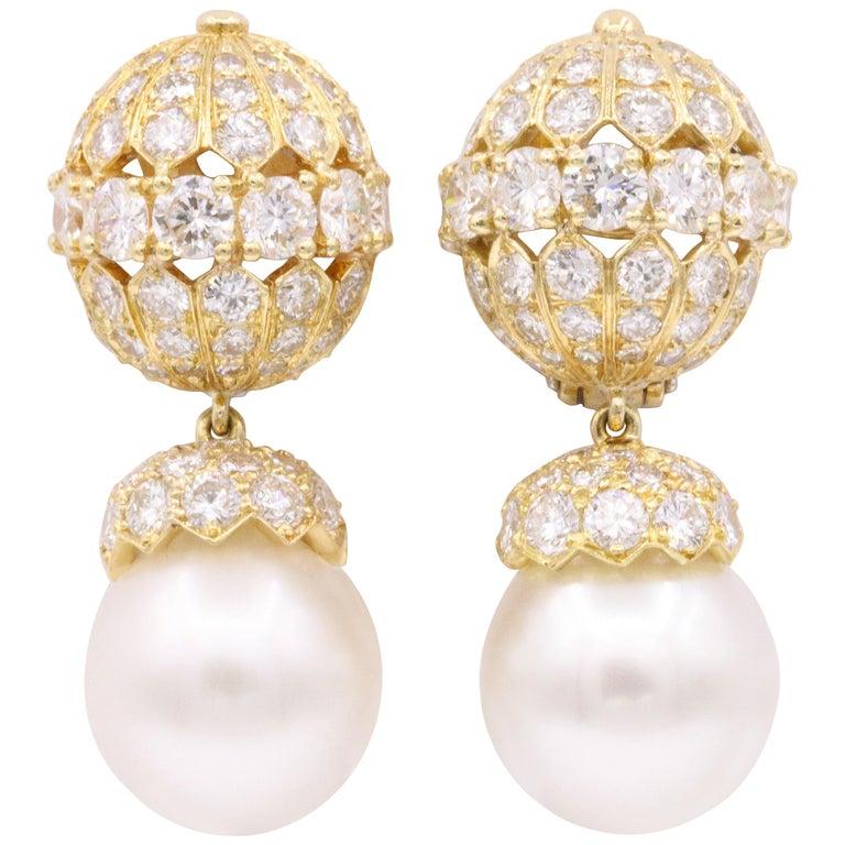 Van Cleef & Arpels Diamond Pearl Earrings, Property of Rockefeller For Sale
