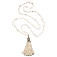 Diamond Cultural Pearl Tassel Necklace 12.50 Carat
