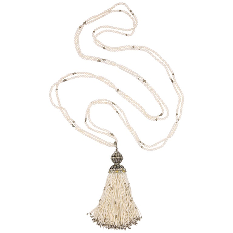 Diamond Cultural Pearl Tassel Necklace 12.50 Carat For Sale