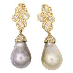 Day and Night Tahitian Pearl Diamond Earrings 4 Carat 18 Karat Gold