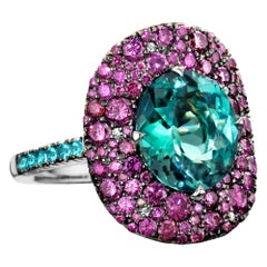 Lagoon Tourmalin, Paraïba Tourmaline and Purple Diamond Cocktail Ring