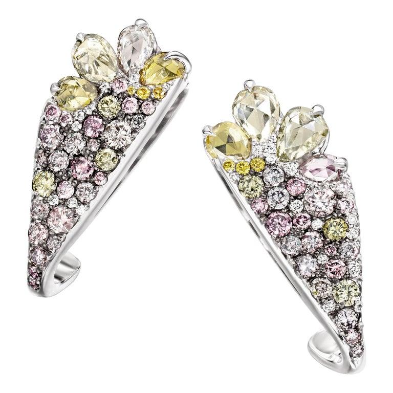 18 Karat White Gold 2.71 Carat Fancy Diamond Pave Ear Cuffs For Sale