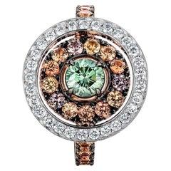 18 Karat Rose and White Gold 0.45 Carat Green Diamond Pave Entourage Ring