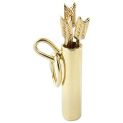 14 Karat Yellow Gold Quiver and Arrows Charm