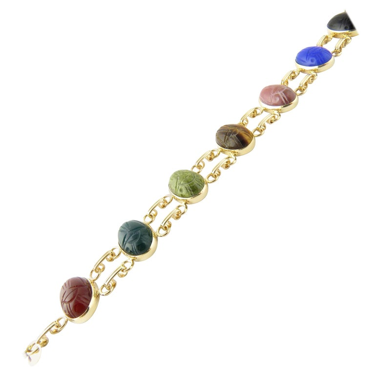 14 Karat Yellow Gold Scarab Bracelet For Sale