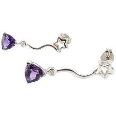 14 Karat White Gold Amethyst and Diamond Earrings