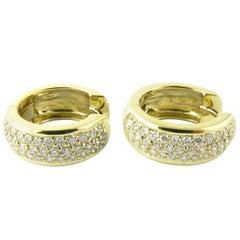 18 Karat Yellow Gold and Diamond Huggie Earrings