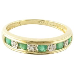 14 Karat Yellow Gold Emerald and Diamond Ring