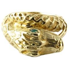 14 Karat Yellow Gold and Emerald Snake Ring