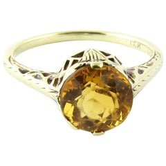 14 Karat White Gold Citrine Ring