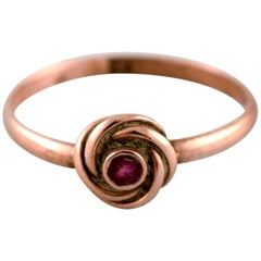 Danish 14 Karat Art Deco Gold Ring with Purple Stone