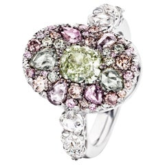 Joke Quick 18K White Gold 3,43 Ct. Fancy Pink & Green Diamond Pave Cocktail Ring