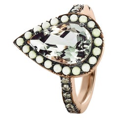 Joke Quick 18K Rose Gold Prasiolite, Lemon Chrysophrase & Diamond Entourage ring
