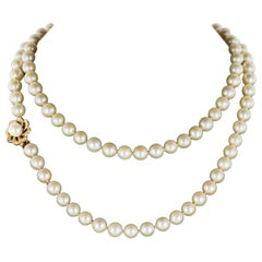 1960s Cultured Pearl Yellow Gold Clasp Choker Necklace