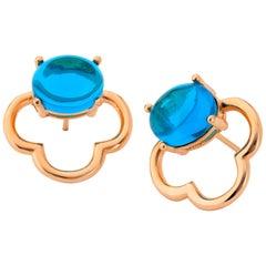 Maviada's 18 Karat Vermeil Capri Rose Gold London Blue Quartz Drop Stud Earrings