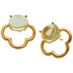 Maviada's 18 Karat Vermeil Capri Gold Green Peridot Quartz Drop Stud Earrings