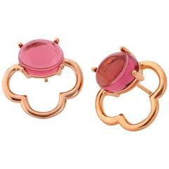 MAVIADA's 18k Vermeil Capri Rose Gold Pink Tourmaline quartz Stud Drop Earrings