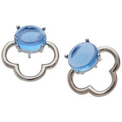 MAVIADA's 18k Vermeil Capri White Rhodium Blue Tanzanite quartz Stud Earrings