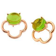 MAVIADA's 18k Vermeil Capri Rose Gold Green Amethyst quartz Stud Drop Earrings