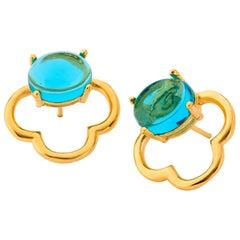 MAVIADA's 18k Vermeil Capri Yellow Gold London Blue quartz Drop Stud Earrings