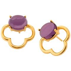 MAVIADA's 18k Vermeil Capri Yellow Gold Purple Amethyst quartz Stud Earrings