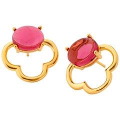 MAVIADA's 18k Vermeil Capri Yellow Gold Pink Tourmaline quartz Stud Earrings