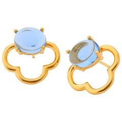 MAVIADA's 18k Vermeil Capri Yellow Gold Blue Tanzanite quartz Drop Stud Earrings