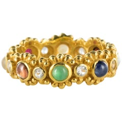New Precious Stones Golden Vermeil Band Ring
