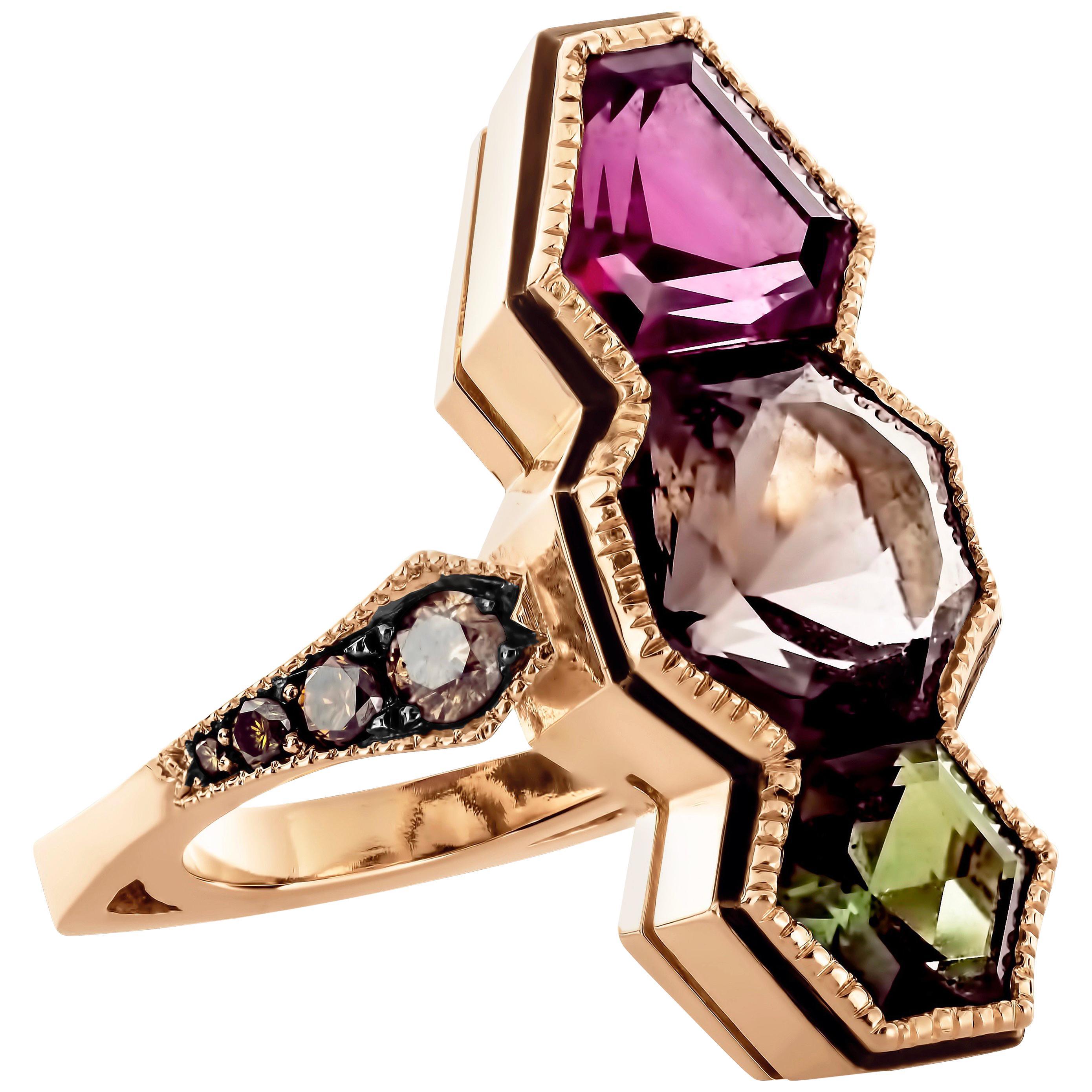 Joke Quick 18K Rose Gold Hexagon Cut Millegrain Ring