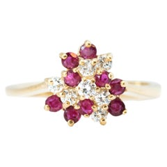 1950s Ruby and Diamond Cluster 14 Karat Yellow Gold Ring
