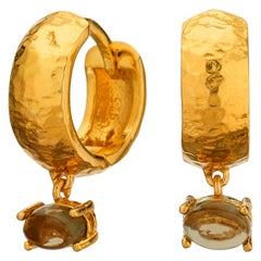 MAVIADA' s 18k Yellow Gold Vermeil Bastia Mini Smoky Brown quartz Hoop Earring