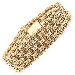 Wide 14 Karat Yellow Gold Mesh Bracelet