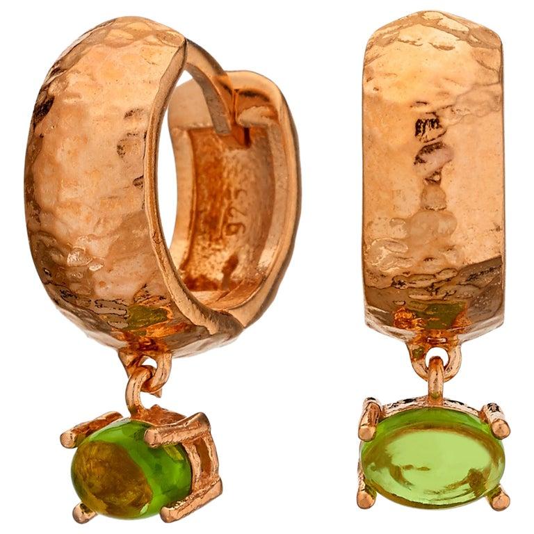 MAVIADA' s 18k Rose Gold Vermeil Bastia Mini Green Amethyst quartz Hoop Earring For Sale