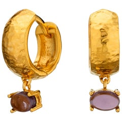 Maviada's 18 Karat Yellow Gold Vermeil Bastia Mini Purple Amethyst Hoop Earring